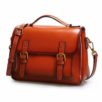 Cow Leather Women Cross Body Top Handle Bag Classic casual fashion female bag Oil Wax  leather Shoulder messenger bag Handbags