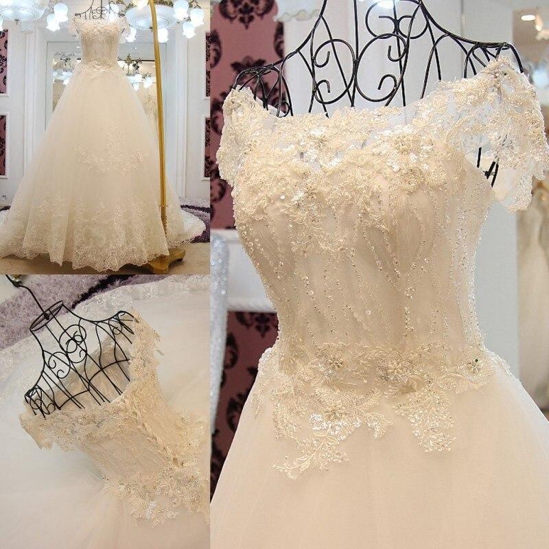 Custom Made Tulle Lace Beading Sequins Vintage A line Ivory Wedding Dress 2017 Vestido De Novia QUEEN BRIDAL Dress GW6