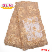 African 3D Flower Lace Fabric High Quality 2018 Wedding African Tulle Lace Embroidered Gold Lace Trimmings For Sewing NA1991B 1