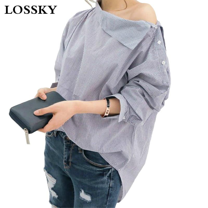 Lossky női csíkos szexi blúz póló vállnélküli laza hosszú ujjú női blúzok plusz méret slash nyak női blúz ingek