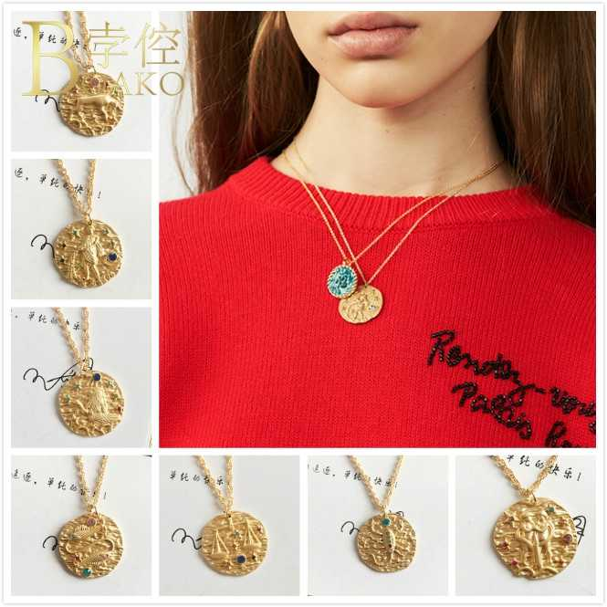 BOAKO Zodiac Sign Coin necklace women statement chain necklace constellation horoscope pendant necklace girl birthday jewelry Z5
