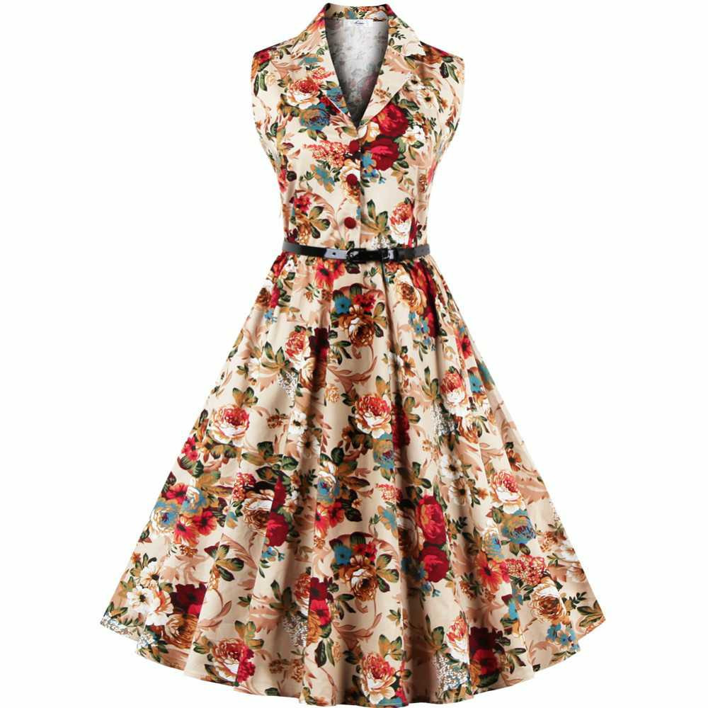 e5ef3bad9ee69 US $10.98 30% OFF|Plus Size 4XL Vintage Dresses 60s 50s Summer 2017 Fashion  Peter Pan Collar Floral Audrey Hepburn Women Rockabilly Dress Vestidos-in  ...