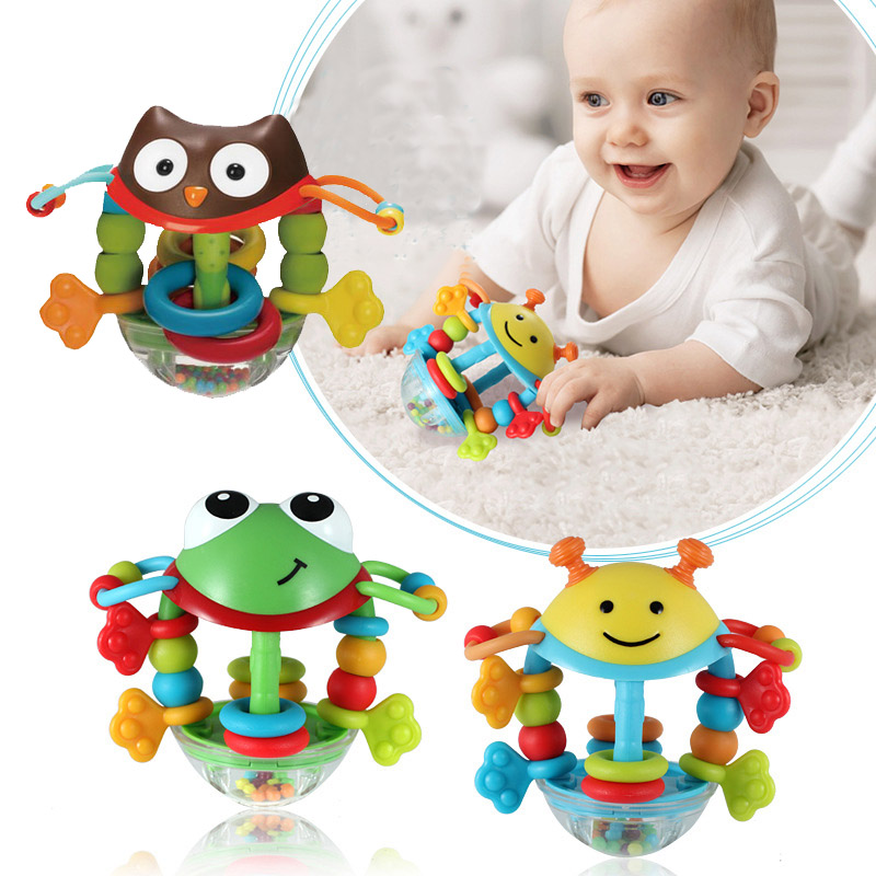 Cartoon Bee Frog Owl Hand Knocking Baby Rattles Early Educational Toy For Kid Hand Bell Baby Toy 0-12 Months