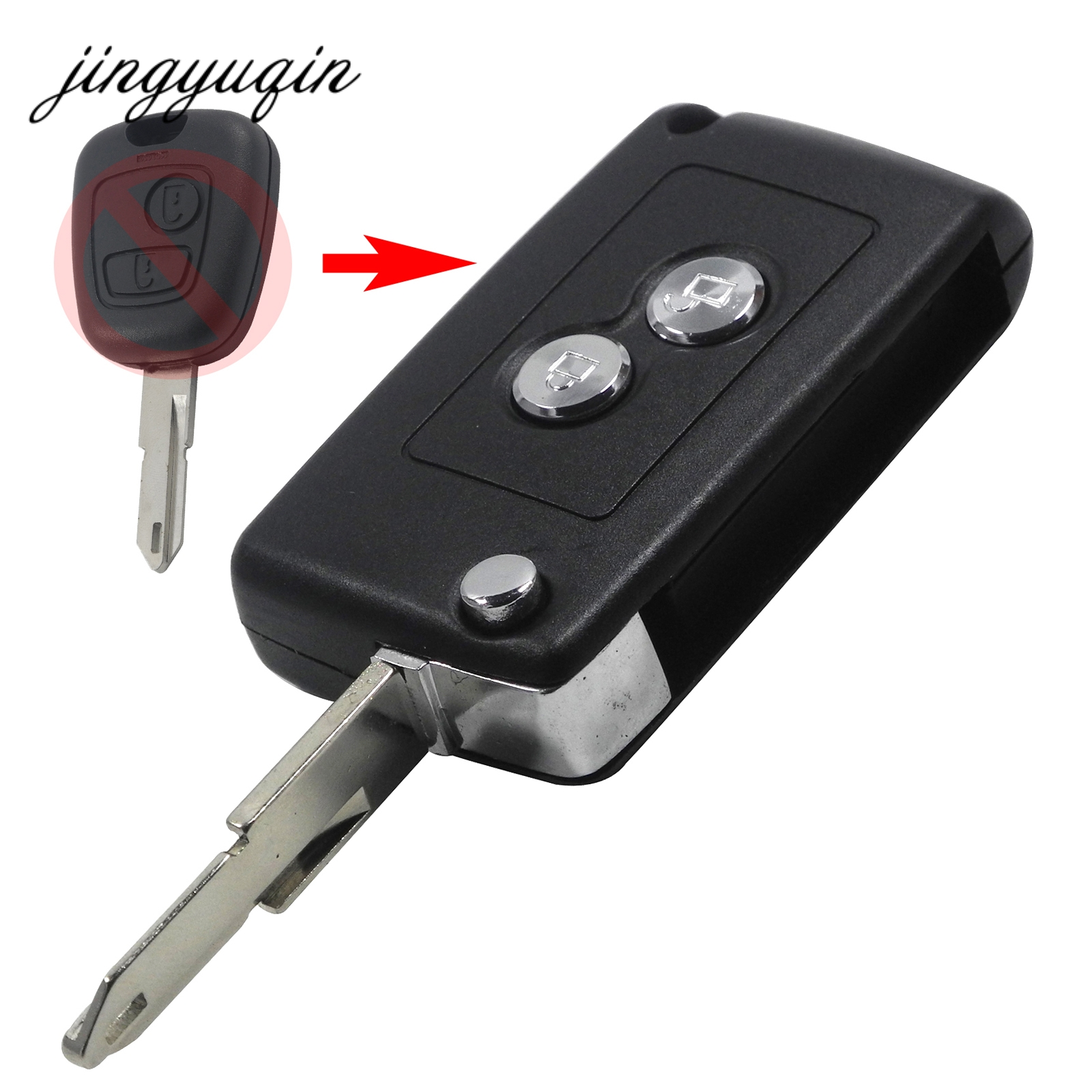 jingyuqin Modified 2 Buttons Folding Key Remote Case For C2 C3 Xsara Picasso Peugeot 206 207