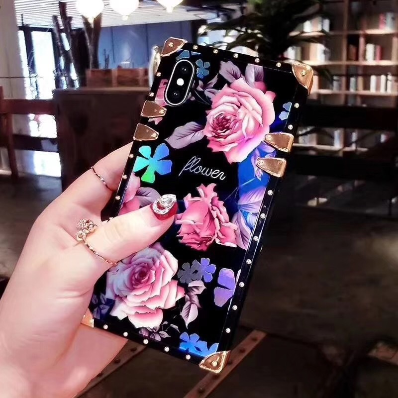 High quality Acrylic Blu-ray Beautiful Rose Flowers Square Mobile Case