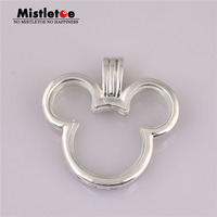 Mistletoe Authentic 925 Sterling Silver Mickey Floating Locket, Clear CZ Fit European Necklace Jewelry