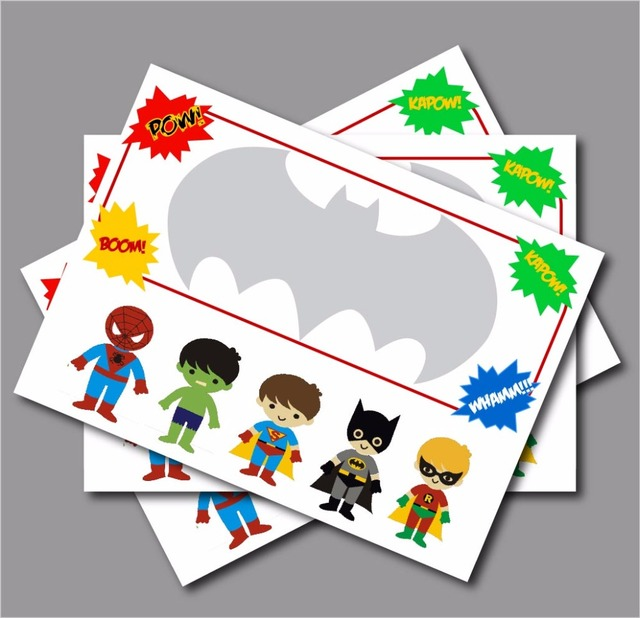 20 pcslot Personalised Superhero Birthday Party Invitations Baby
