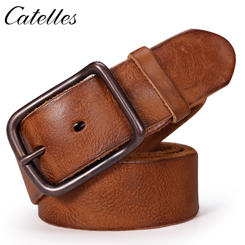 CATELLES Men's Wash Leather Belt Cowskin Pin Buckle Soft Origin 100% Geunine Leather Belt For Jeans 2017 New Free Shipping