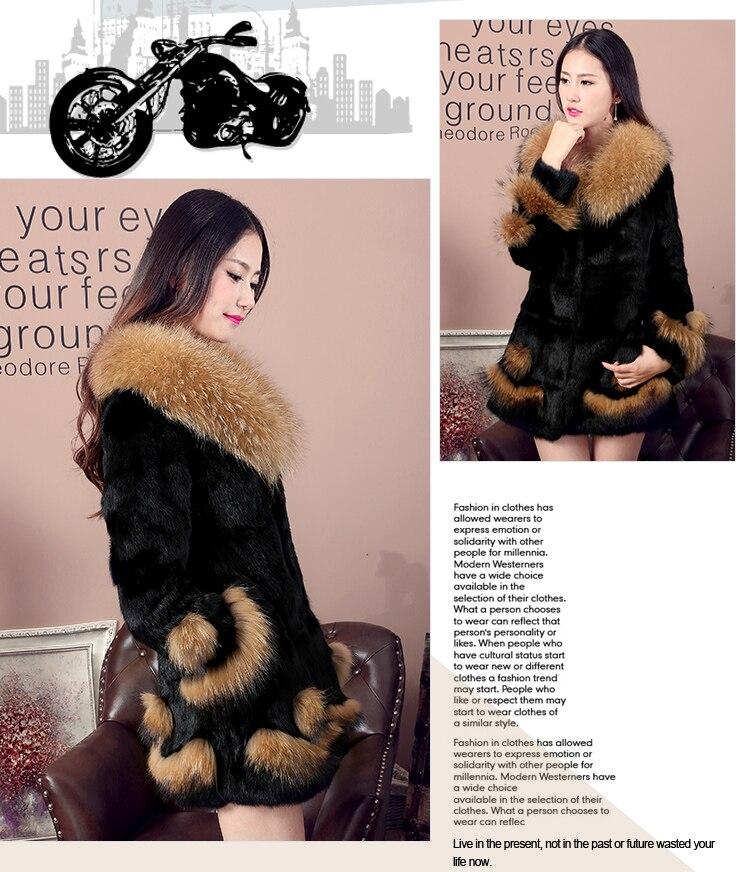 Lapin Femmes Manteaux Cheveux Hiver Black D'hiver 6xl La Veste Fourrure Long Raton Manteau Dames Élégant Vestes De Plus Laveur Épais Taille 8Fnr1H8