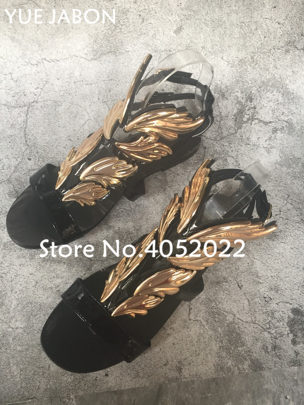 46fc9e8e97e5 2018 Shoes outs YUE Heel Stiletto Gladiator Party Winged Summer JABON Sandal  Flame Leaves Women Flat ...