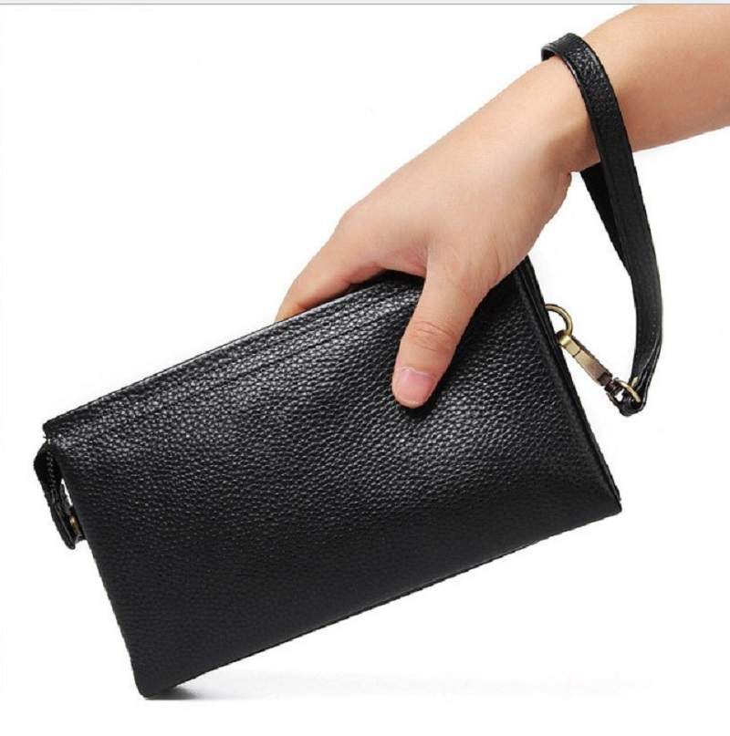 Man Handbag Wallet Black Genuine Leather Mobile Bank Card ID holders Wallets Men Business Tote Wallet Money Bags Wallet in Wallets from Luggage Bags