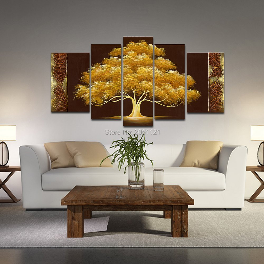 Modern Paintings For Living Room Aliexpresscom Buy Hand Painted Autumn Tree Oil Painting Yellow