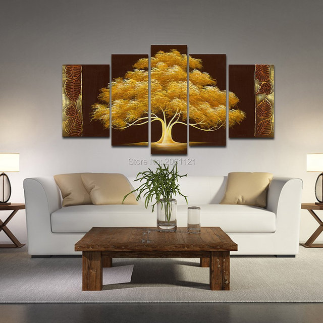 Hand Painted Autumn Tree Oil Painting Yellow Brown Abstract Modern Canvas Wall Art Living Room Decor