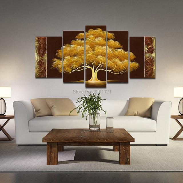 handgemalte herbst baum Ölgemälde gelb braun abstrakte moderne ... - Moderne Kunst Wohnzimmer