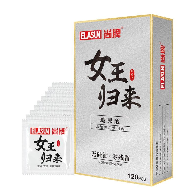 Elasun 120 pcs/boîte Hyaluronique Acide Condos pour Hommes En Latex Naturel Ultra-mince Préservatif Serré Mince Facile à Nettoyer Mâle préservatifs Sex Toys