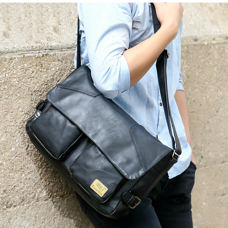 Three-box Brand Men Leather Casual Large Capacity Messenger Bag Man Vintage Crossbody Shoulder Bag Busines Travel Bags Bolsas 6