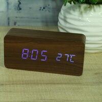 Modern Wooden Wood USB AAA Digital LED Alarm Clock Calendar Thermometer