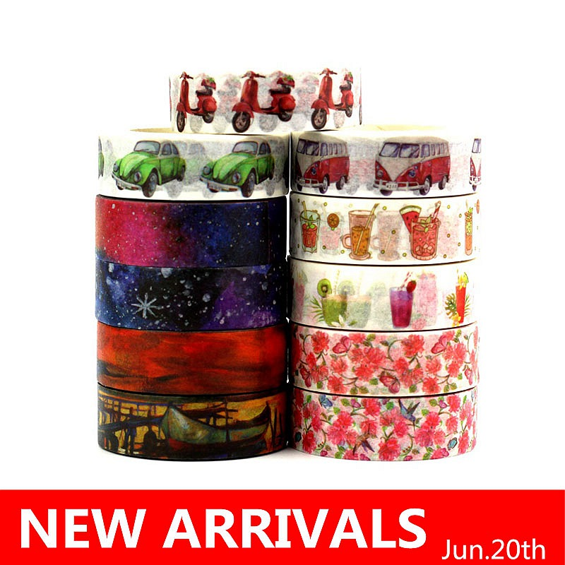 10 Pc/Lot 588 Patterns For Choice 15mm *10m Tape Christmas And Flowers Print DIY Sticky Deco Masking Japanese Washi Tape Paper