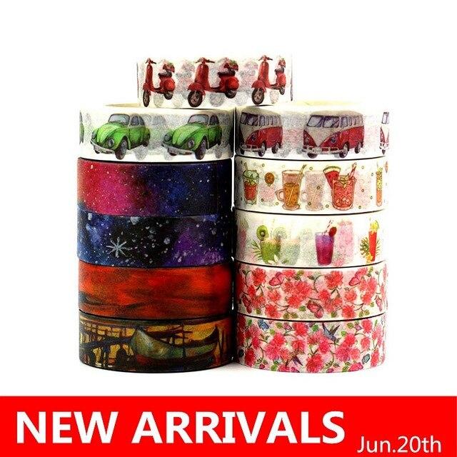 10 pzas/lote 588 patrones para elegir 15mm * 10 m cinta de Navidad y flores impresión DIY adhesivo Deco japonés Washi cinta de papel