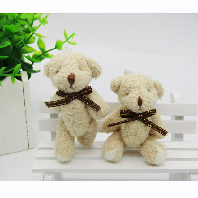 2PCS/LOT Mini Teddy Bear Stuffed Plush Toys 6.5cm Small Bear with bow Stuffed Toys light brown pelucia Pendant Kids Gift WFR001 Uncategorized Decoration Kid's Toys Stuffed & Plush Toys Toys