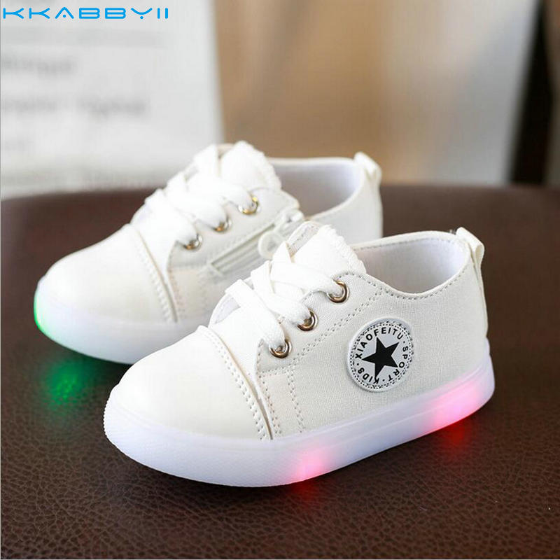 KKABBYII Kids Fashion Children Led Sneakers Shoes Canvas Soft Bottom Baby Sport Toddler Shoes With Light Boys Girls Sneakers