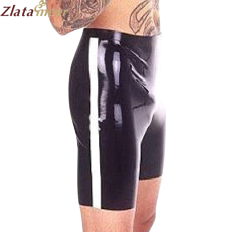 Black Latex Mens Shorts Rubber Short Pants with White Side LPM085