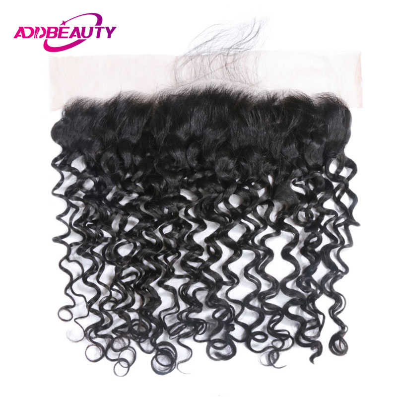 13x4 Lace Frontal Closure Water Wave Brazilian Unprocessed Virgin Human Hair Ear To Ear Pre Plucked Natural Color 130% Density