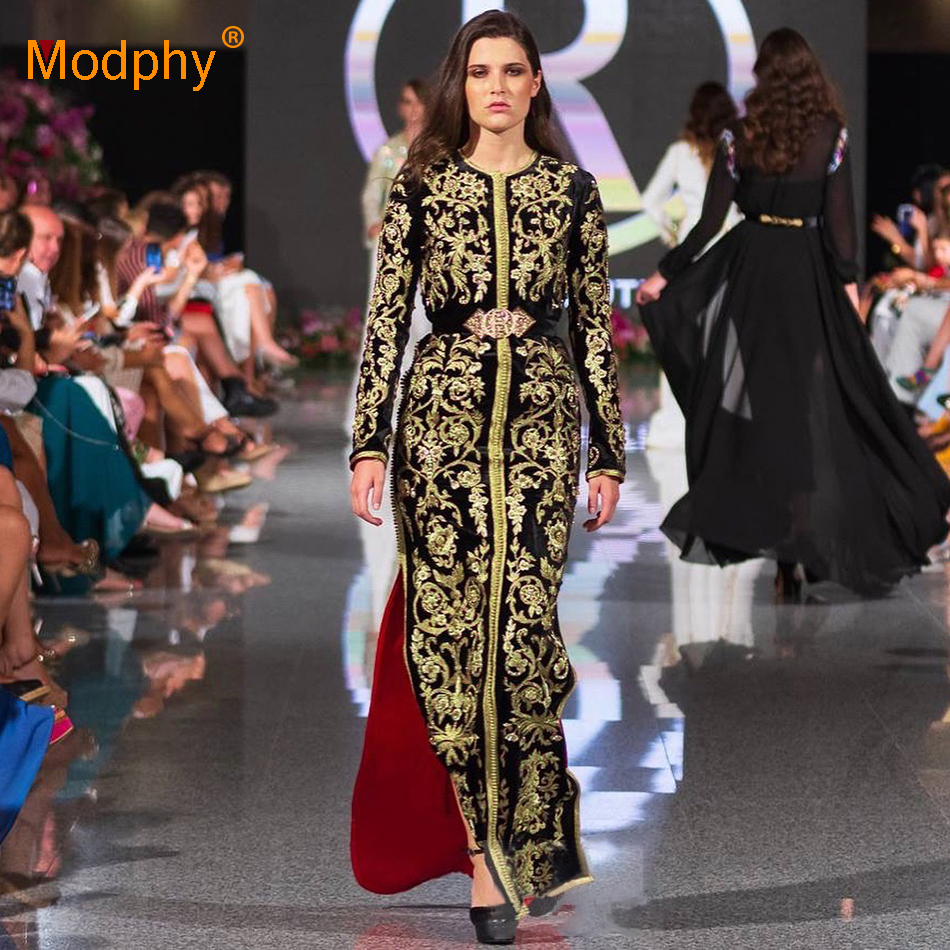 2018 Vintage Luxury Gold Embroidered Long Sleeve Round Neck Long Dress Winter Women's Celebrity Runway Party Bodycon Vestidos