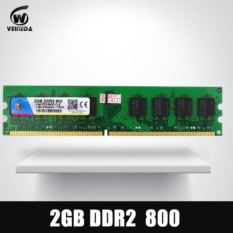 VEINEDA DeskPC Ram ddr2 4gb 533 667 800HMz PC2 6400 Memory ddr 2 PC2-6400 240pin For AMD Intel Desktop memoria ram ddr2 4gb 800 pc2 6400 compatible ddr2 4 gb 667 pc5300 for intel amd mobo