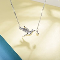Love Bird Heart Pendant Necklace 925 Sterling Silver Give You My Heart Lovebirds Heart Charm Gift