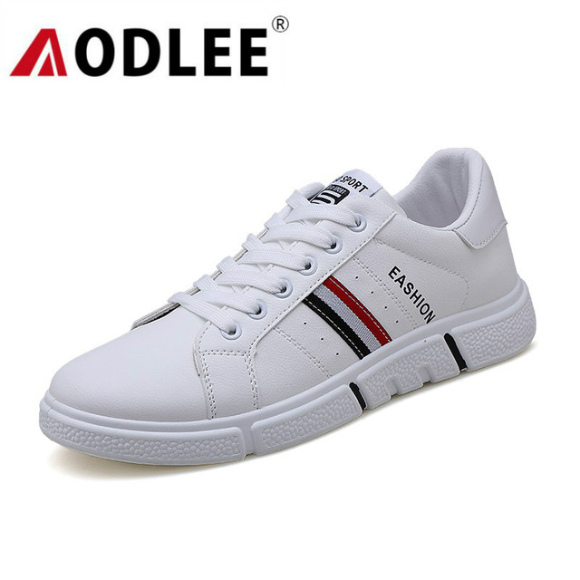 AODLEE White Sneakers Men Shoes Casual Breathable 2019 Spring Fashion Men Casual Shoes Sneakers Walking Leather Shoes Men Loafer
