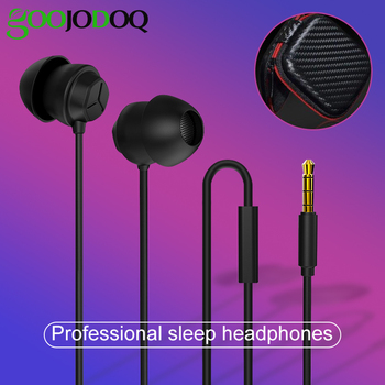 Soft Silicone Sleeping Earphone Headset Lightweight Headphones 3.5mm Mic Noise Cancelling Earphone Earbuds For Redmi7 + CASE