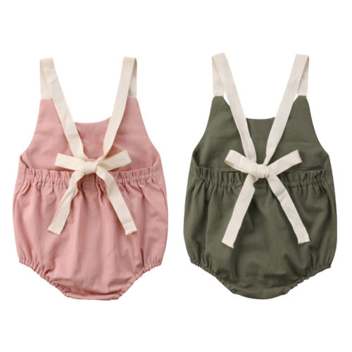 Toddler Baby Girl Summer Bowknot Backless   Romper   Infant Baby Girls Sleeveless Jumpsuit Outfit 0-24M