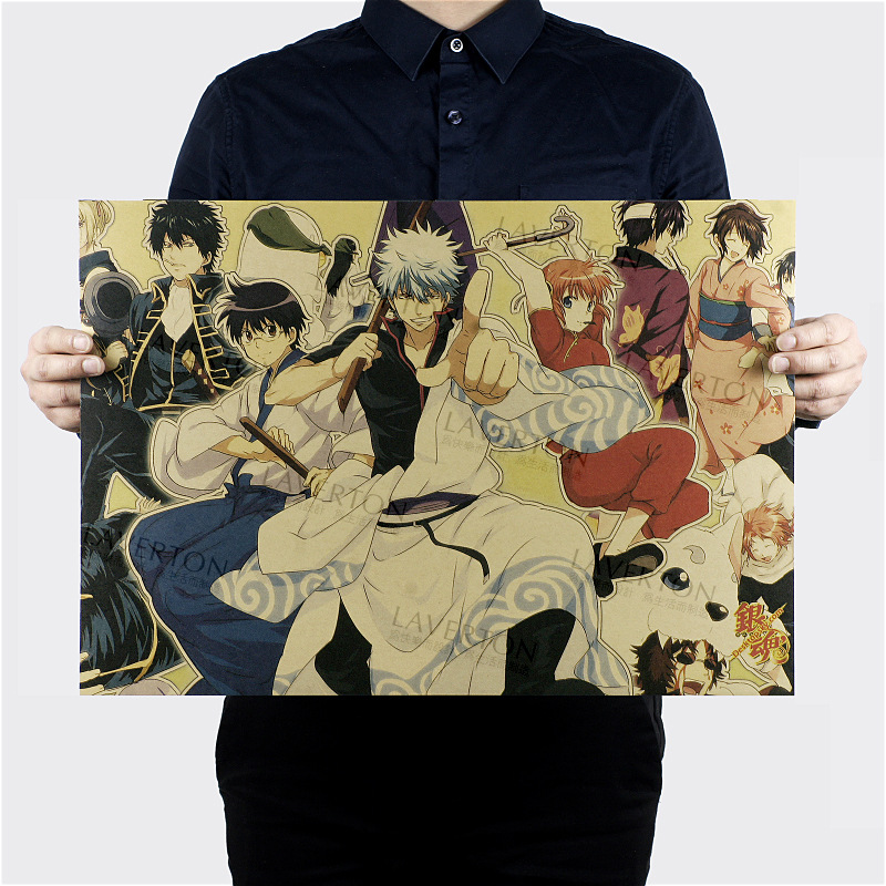 Free shipping,GINTAMA B Style/classic Japanese Cartoon Comic /kraft paper/bar poster/Retro Poster/decorative painting 51x35.5cm