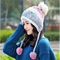 2017 de la moda de invierno sombrero de invierno femenina de otoño e invierno de punto de punto de las mujeres, además de terciopelo del casquillo del oído protector térmico