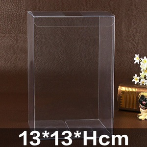 Image 1 - 13*13*Hcm Clear Square Wedding Favor Gift Box PVC Transparent Party Candy Bags Chocolate Boxes Packaging Cake Soap Display Box