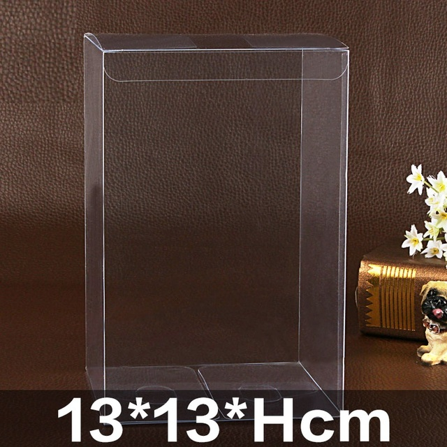13*13*Hcm Clear Square Wedding Favor Gift Box PVC Transparent Party Candy Bags Chocolate Boxes Packaging Cake Soap Display Box
