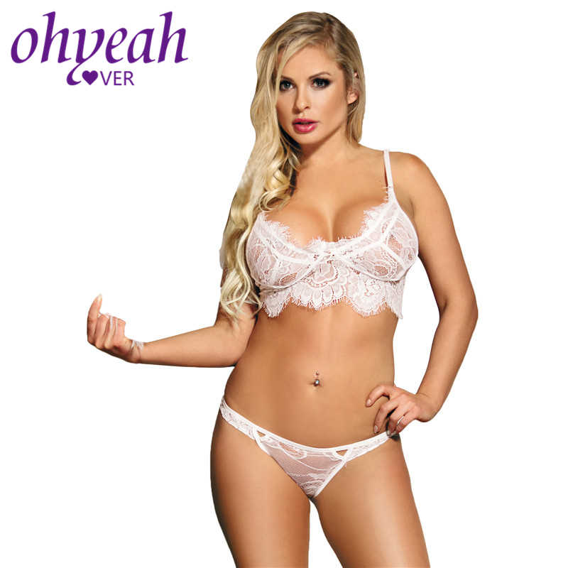 0fba27b3593 ... Ohyeahlover Lenceria Sexi Para Mujer Women Bra Set Ensemble Lingerie  Dentelle RM80383 Transparent Plus Size White ...