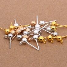 a8b8ae0df8d3 Acero inoxidable 20 piezas oro plata Bola de rodio pendientes pasadores  banda lazo oreja