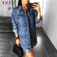 RZIV 2017 Women Casual Jacket Solid Color Hole Denim Jacket Long Section