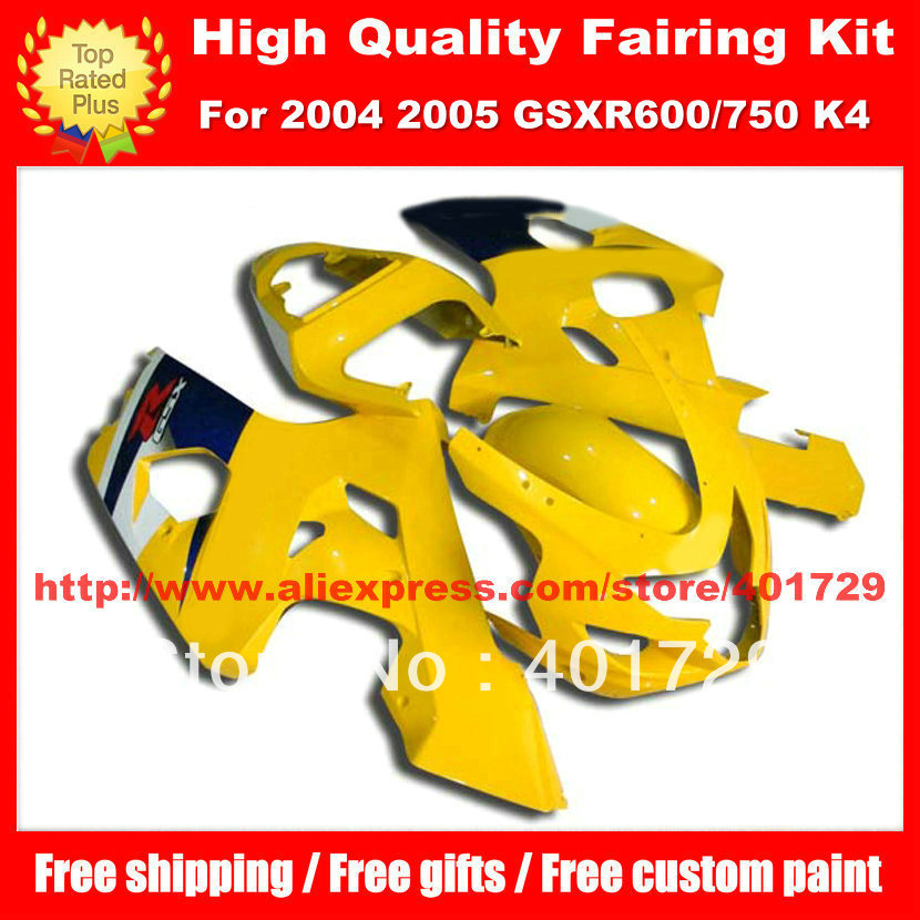 Motorcycle fairings for SUZUKI GSX R600 R750 2004 2005 GSXR600 GSXR750 GSXR 600 750 04 05 K4 free custom paint yellow body work