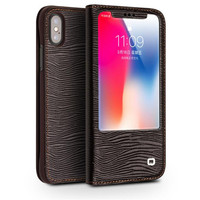 QIALINO Luxury Genuine Leather Case for Iphone X 10 Sleep Wake Function Smart Flip Cover