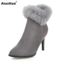 Women Elegant Dress Party Shoes Thin High Heels Botas Women Fur Ankle Boots Pointed Toe Less Platform Shoes Size 34-43