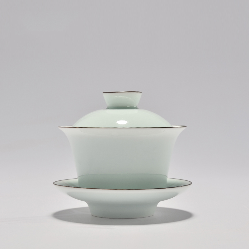 PINNY Hand Made Celadon Tea Tureen Chinese Style 150ml Ceramic Gaiwan High Quality Kung Fu Set Ceremony Necessary