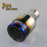 JZZ UNIVERSAL STAINLESS EXHAUST PIPE 2INCH BLUE STAINLESS STEEL PIPE HIGH QUALITY CAR MUFFLER CAR TIP