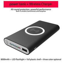 8000mAh Universal Portable Power Bank Qi Wireless Charger For iPhone Samsung S6 S7 S8 Powerbank Mobile Phone Wireless Charger bp high quality portable 5200mah mobile power bank for iphone 5s samsung htc orange