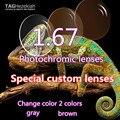 1.67 de Alta Calidad de Resina Lentes Fotosensibles ultrafino Aurora Cambio Rápido Gris/Marrón Lentes de Prescripción