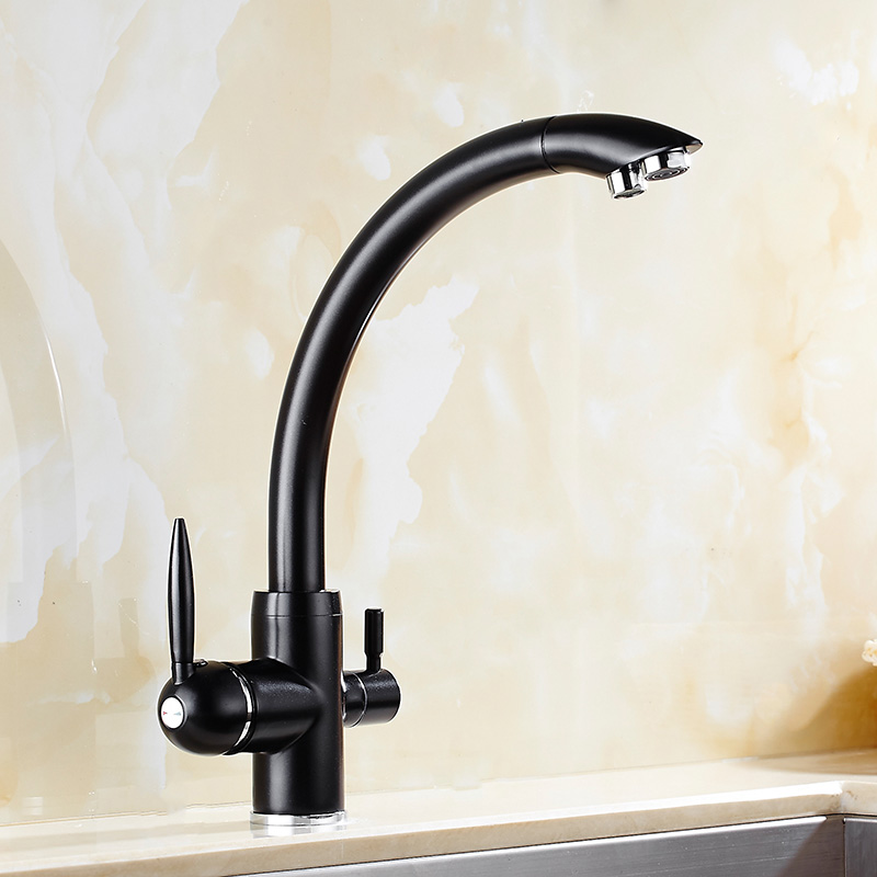 awesome Water Softener For Kitchen Sink #6: Black Bronze Dual Handle 360 Swivel Kitchen Sink Water Faucet Double Spout  Water Filter Tri-flow Brass Kitchen Sink Faucets
