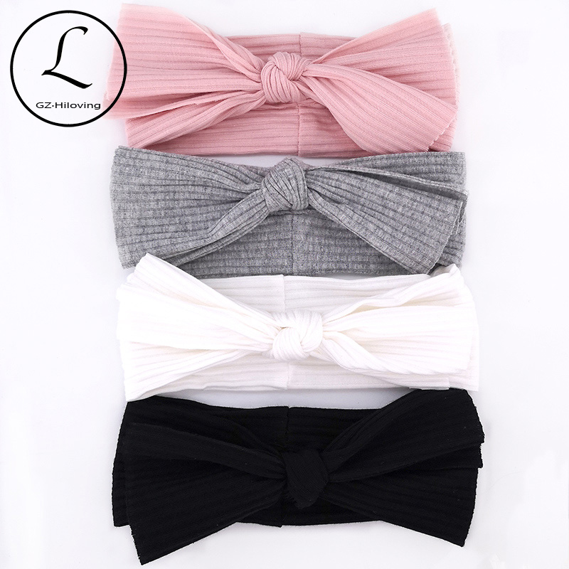 GZHIlovingL Newborn Baby Boys Girls Cotton Ribbed Headbands Kids Childs Soft Stretch Bow Knot Headwear Hair Bands Accessories