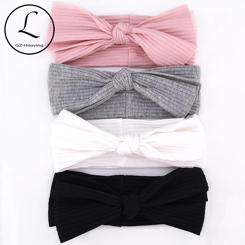 GZHIlovingL Newborn Baby Boys Girls Cotton Ribbed Headbands Kids Childs Soft Stretch Bow Knot Headwear Hair Bands Accessories